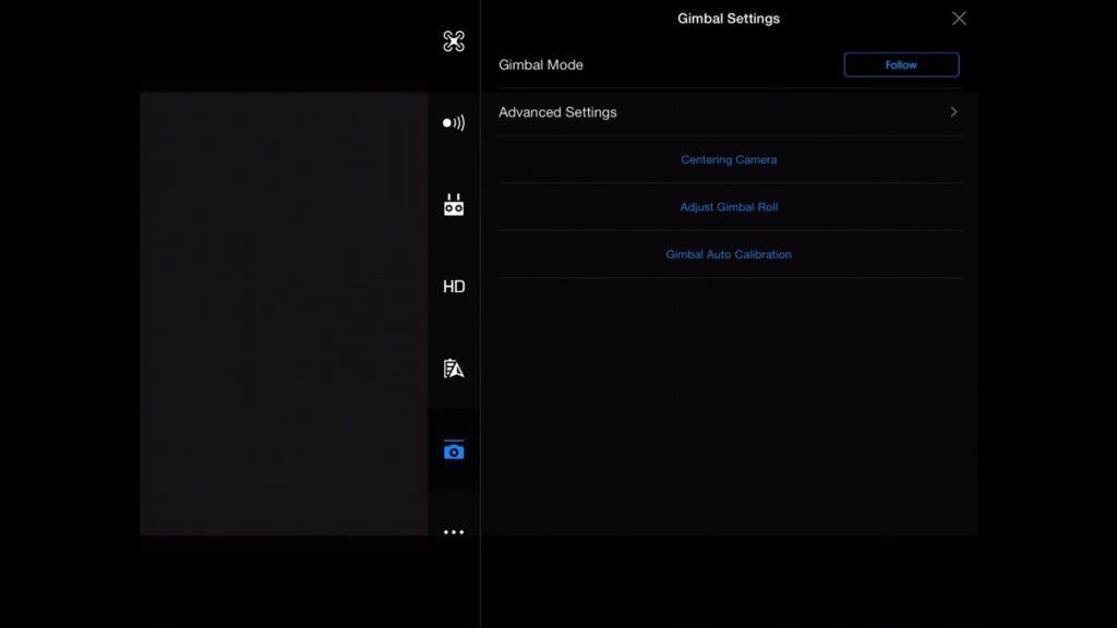 Gimbal Settings-DJI Go App Drone