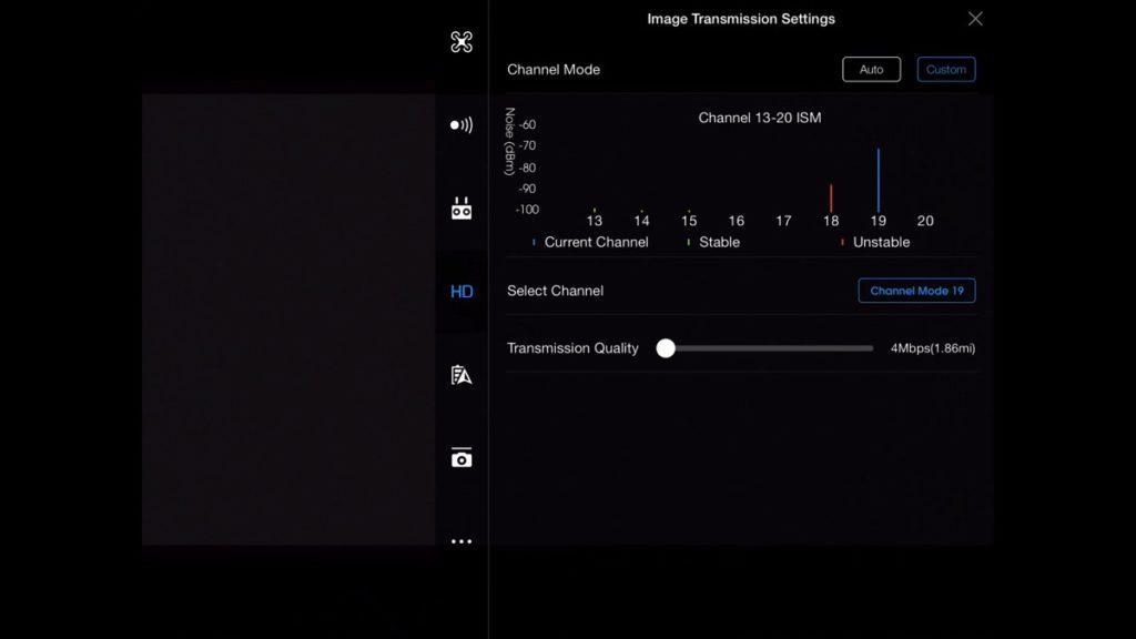 Image Transmission Settings-DJI Go App Drone