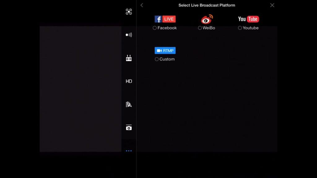 Live Broadcast Platform-DJI Go App Drone