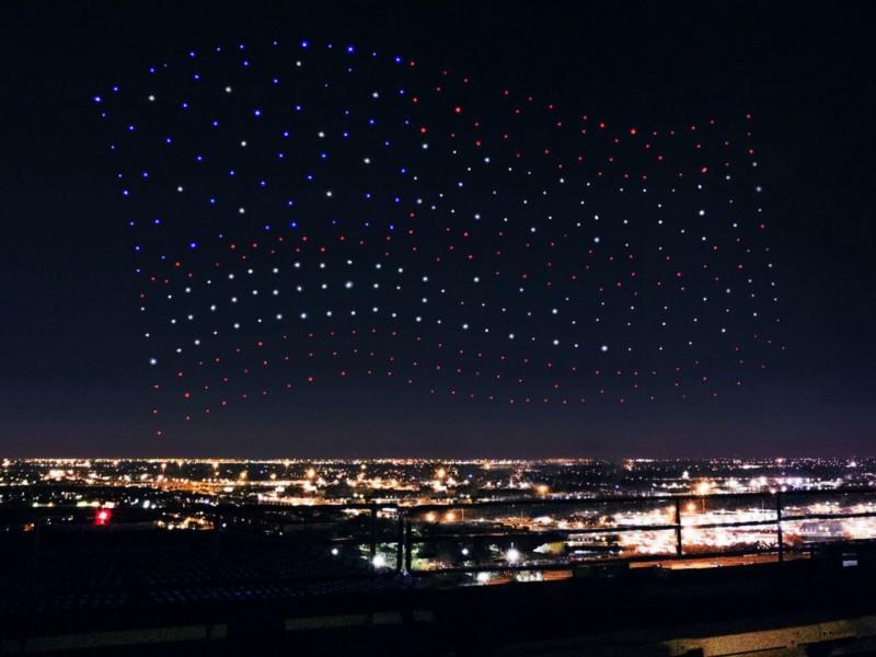 american flag intel superbowl drone