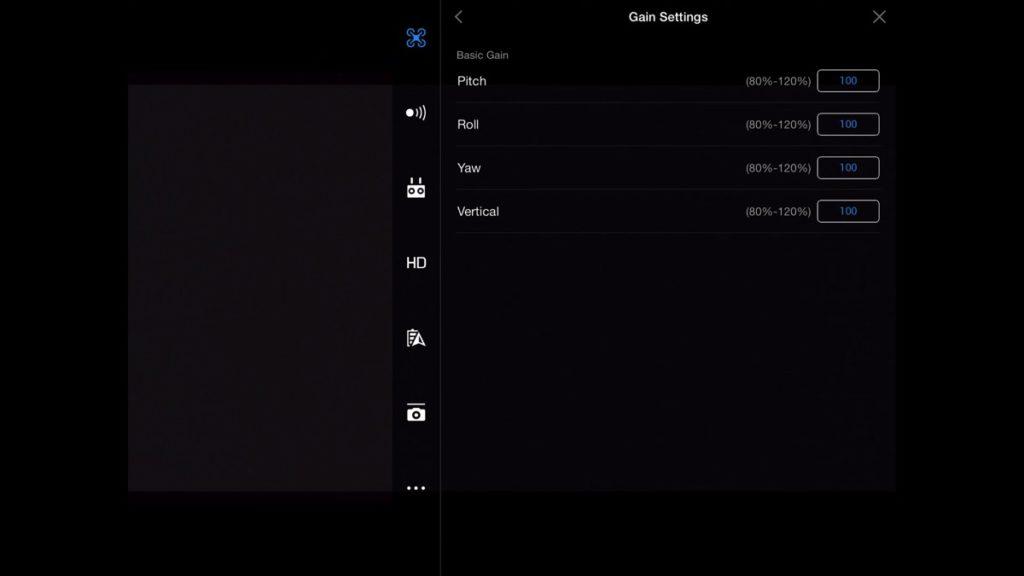 Gain & Expo Settings - Gain-DJI Go App Drone