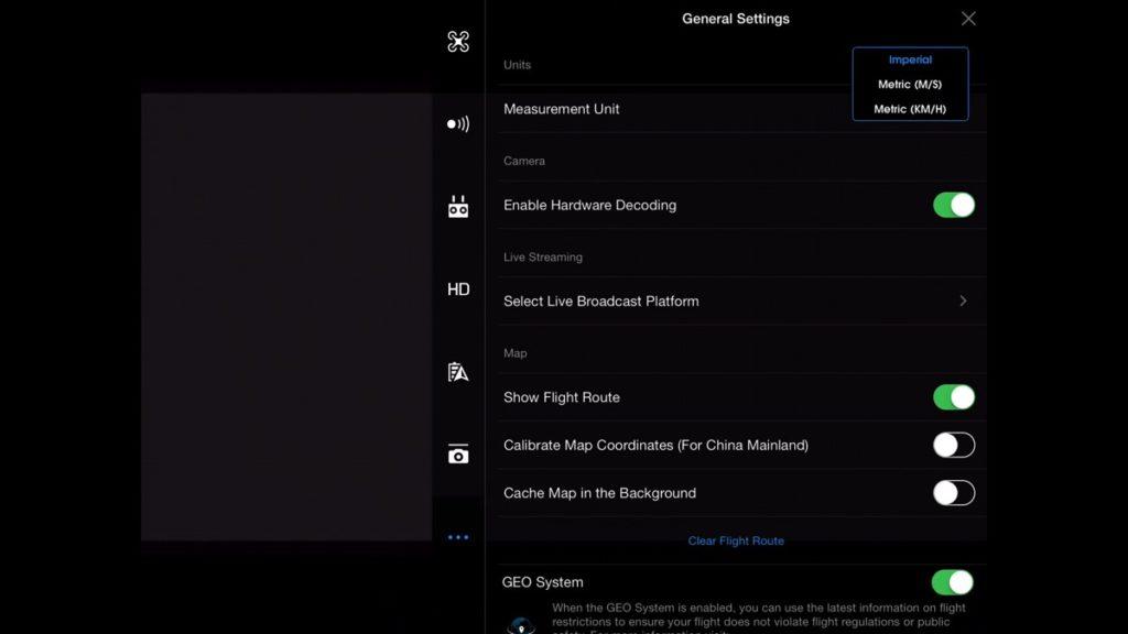 General Settings-DJI Go App Drone