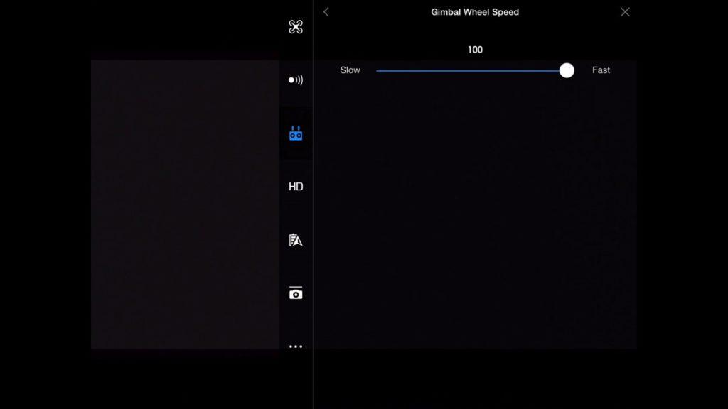 Gimbal Wheel Speed-DJI Go App Drone