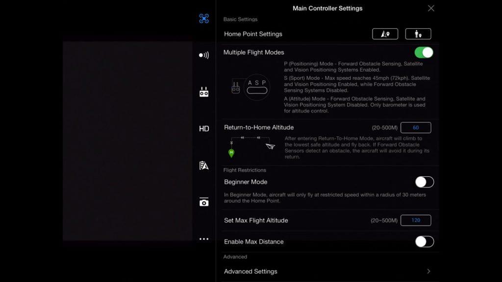 Main Controller Settings-DJI Go App Drone