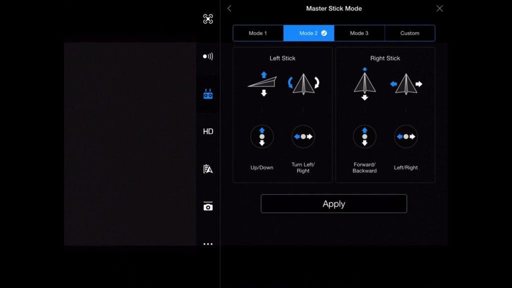 Master Stick Mode 2-DJI Go App Drone