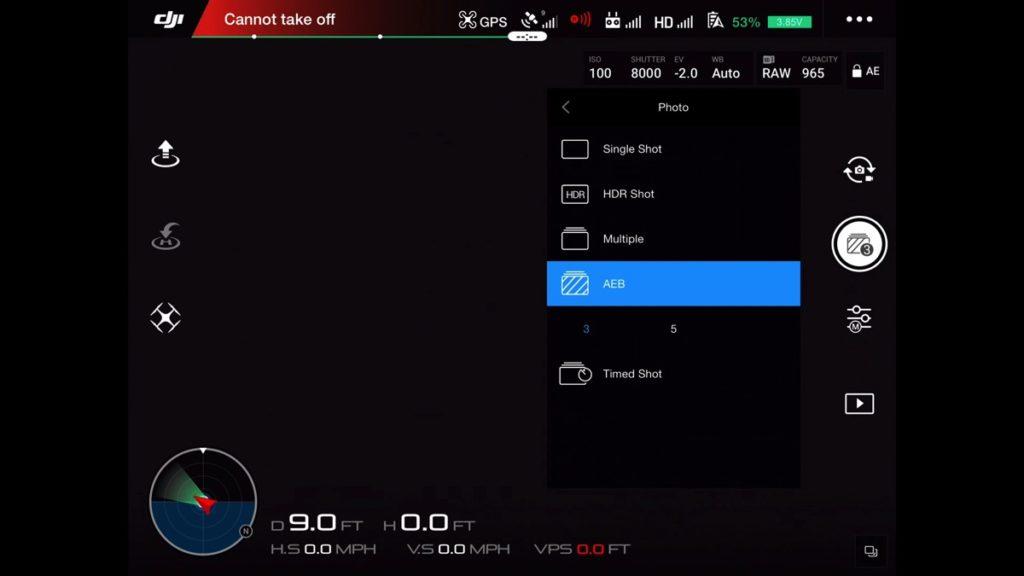 Photo shooting modes DJI Go App Drone