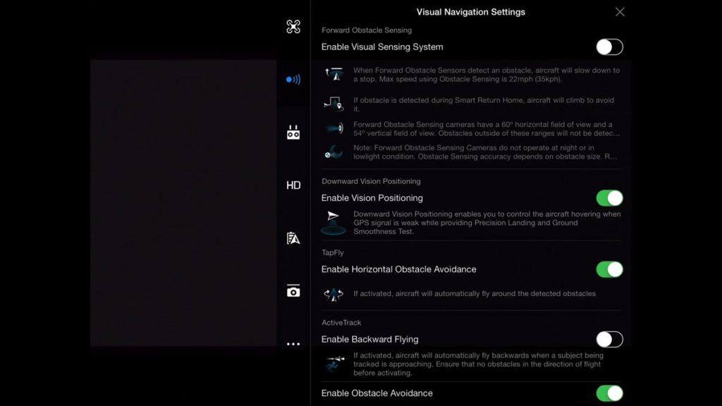 Visual Navigation Settings-DJI Go App Drone