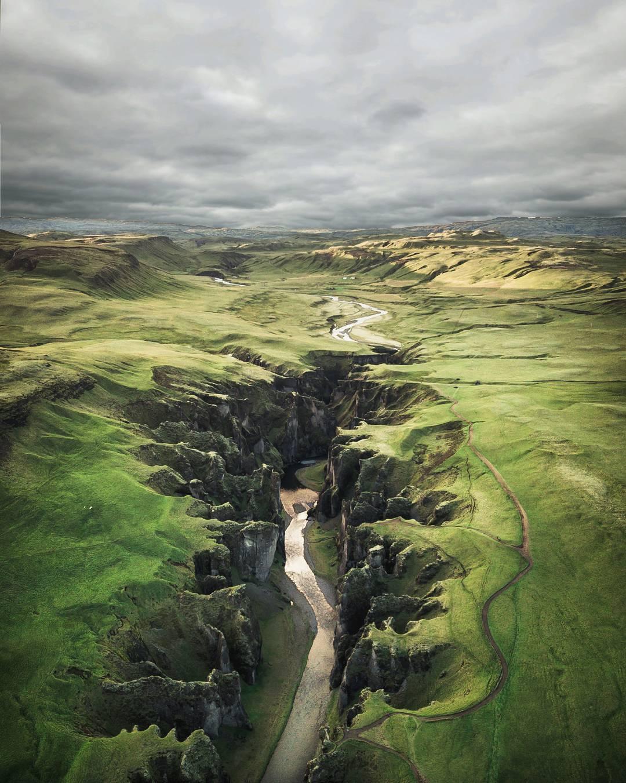 fjaðrárgljúfur Fjadrargljufur canyon Iceland From Where I Drone