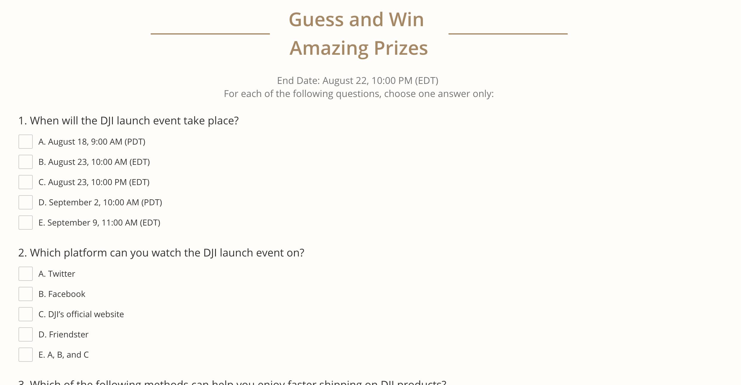 DJI Quiz + Free Priority Shipping Coupon