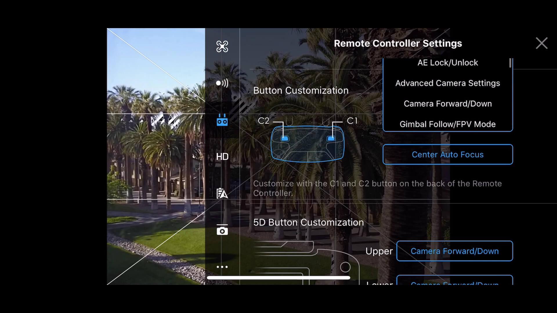 28 basic camera settings for dji drone photos - custom button 2