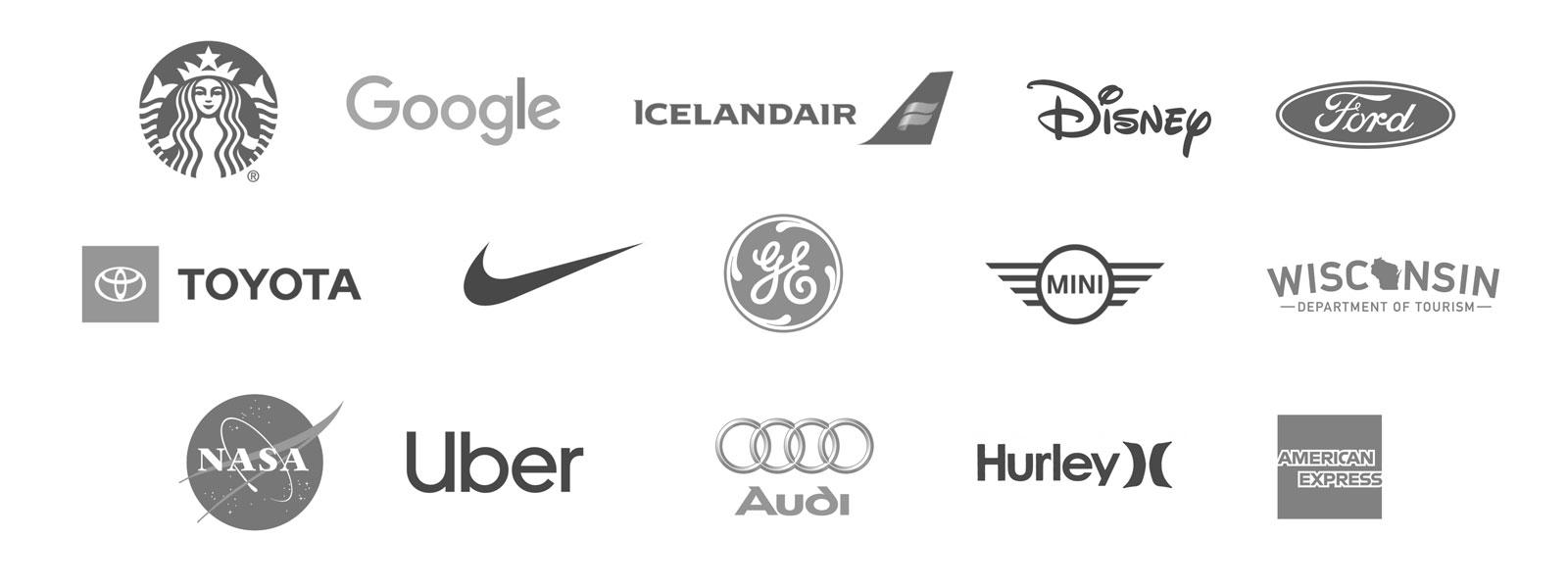 Nike, Google, MINI, Uber, Travel Wisconsin, Audi, Hurley and General Electric